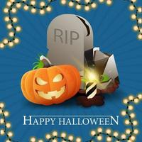Happy Halloween, blue getting square postcard with tombstone and pumpkin Jack vector