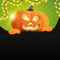 Halloween square template for your creativity with fun pumpkin Jack which climbs from behind the paper wall vector