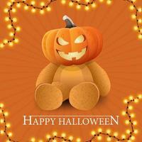 Happy Halloween, orange getting square postcard with Teddy bear with Jack pumpkin head vector