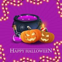 Happy Halloween, purple getting square postcard with witch's cauldron and pumpkin Jack vector