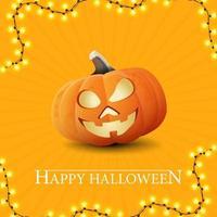 Happy Halloween, yellow getting square postcard with big fun pumpkin Jack vector
