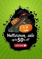 Halloween sale, up to 50 off, vertical green banner template with garland, button shop now , wooden sign, witch hat and pumpkin Jack vector