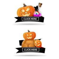 Two Halloween icons with black ribbons and click here buttons. Original icons-links for your business. Teddy bear with Jack pumpkin hea, pumpkin Jack and witch's potion vector