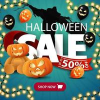 Halloween sale, blue discount square banner with large letters, pumpkins, halloween balloons, garland and Teddy bear with Jack pumpkin head. Square banner for your business vector