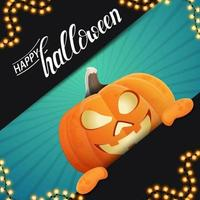 Happy Halloween, square template for your creativity with fun pumpkin Jack peeking out from behind the wall vector