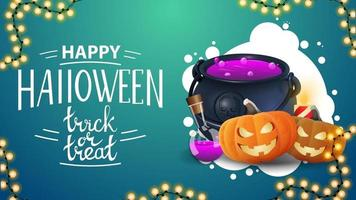 Happy Halloween, trick or treat, horizontal blue greeting postcard with halloween garland, witch's cauldron and pumpkin Jack vector