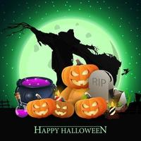 Happy Halloween, postcard with witch's cauldron, Teddy bear with Jack pumpkin head, Scarecrow, tombstone and pumpkin Jack on the background of a large green full moon vector