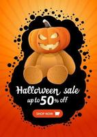 Halloween sale, up to 50 off, vertical orange banner template with button shop now and Teddy bear with Jack pumpkin head vector