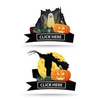 Two Halloween icons with black ribbons and click here buttons. Original icons-links for your business vector