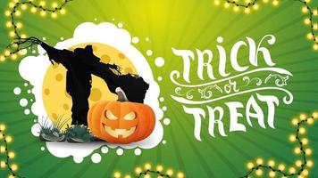Trick or treat, horizontal green greeting postcard with halloween garland, Scarecrow and pumpkin Jack against the moon vector
