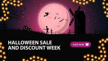 Halloween sale and discount week, horizontal discount banner for your business with pink night landscape with full moon, old mill, witches and zombie. vector