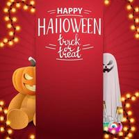 Happy Halloween, trick or treat, red square template for your creativity with ghost and Teddy bear with Jack pumpkin head, vector