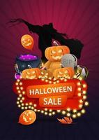 venta de halloween, pancarta de descuento con una guirnalda amarilla enrollada alrededor de una pancarta, espantapájaros, osito de peluche con cabeza de calabaza, caldero de brujas y calabaza. vector