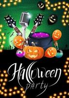 Halloween party, creative party invitation banner with microphone, guitars, pumpkins, witch's cauldron, flasks with potion and Halloween balloons. Green vertical template for Halloween party poster vector