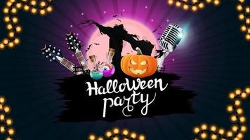 Halloween party, creative party invitation banner with microphone, guitars, pumpkins and Scarecrow. Purple template for Halloween party poster vector