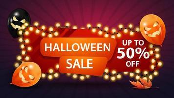 venta de halloween, hasta 50 de descuento, pancarta de descuento con una guirnalda amarilla enrollada alrededor de una pancarta y globos de halloween. plantilla de descuento horizontal rojo. vector