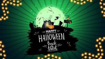 feliz halloween, truco o trato, postal de saludo creativo con portal con fantasmas y calabaza jack vector