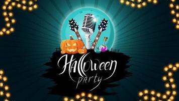 Halloween party, creative party invitation banner with microphone, guitars, pumpkins and flasks with potion. Blue template for Halloween party poster vector