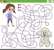 juego educativo de laberinto con niña de dibujos animados y perro caniche vector
