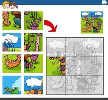 jigsaw puzzle game with funny insects animal characters vector