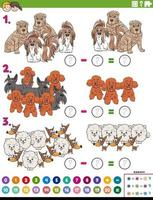 subtraction educational task with cartoon purebred dogs vector