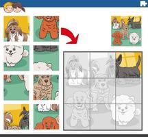 jigsaw puzzle game with purebred dogs animal characters vector