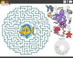 maze educational game with cartoon fish and sea animals vector