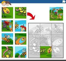 jigsaw puzzle game with insects animal characters vector
