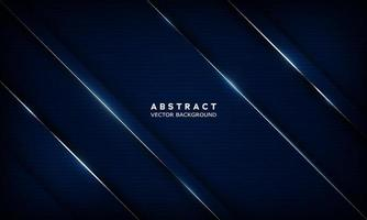 Vector geometric navy blue abstract background with metallic lines. Overlay layers on dark areas with light effect decorations. Modern graphic design template element for poster, flyer.