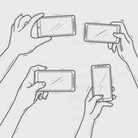 Hands hold smartphone taking photo with line art hand drawn vector