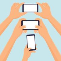Hands hold smartphone taking selfie and photo blank template vector illustration