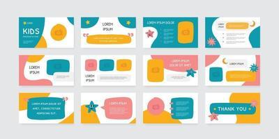 playful kids theme presentation slides design template vector