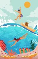 Swimming at the Sea on Summer vector