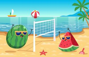 Funny Watermelon Playing Volley Beach Ball vector