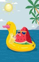 Watermelon Enjoy Summer at Beach vector