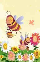 Cute Bees Carry Honey vector