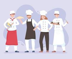chefs characters men and women workers in apron and hats vector