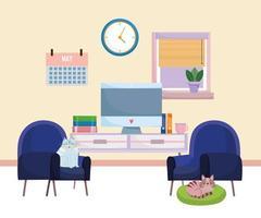 Interior de la oficina en casa muebles de computadora libros calendario reloj sillas y gatos descansando sobre un cojín vector