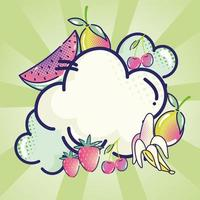 pop art comic clouds and tropical fruits halftone green sunburst vector