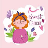 Breast cancer young cartoon woman with ribbon butterfly hearts and flowers vector