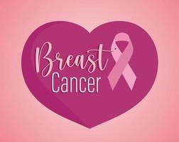 Breast cancer text and ribbon on heart pink background vector