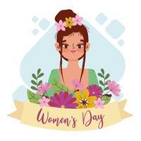 Womens Day cute girl with bun hair and flowers decoration cartoon vector