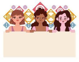 diversity women cartoon portrait holds banner vector
