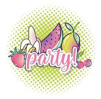 pop art tropical fruits watermelon strawberry mango cherry halftone vector