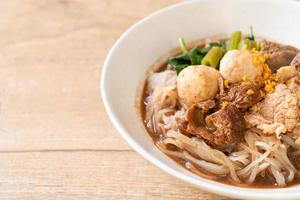 Rice noodle soup with Stewed pork photo