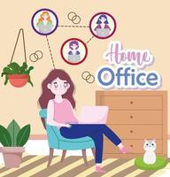 people working talking by internet video conference meeting home office vector