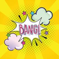 pop art bang text explosion clouds stars yellow halftone vector