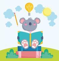 cute koala reading book vector