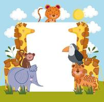 safari animals with placard vector