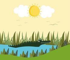 alligator in the lake vector